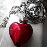 Metallic Silver Skull Necklace with Blood Red Heart Pendant