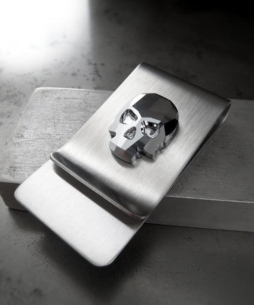 Swarovski Crystal Silver Skull Money Clip - Metallic Chrome Color