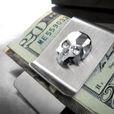 Swarovski Crystal Silver Skull Money Clip - Metallic Chrome