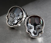 Swarovski Crystal Skull Stud Earrings - Midnight Black with Silver