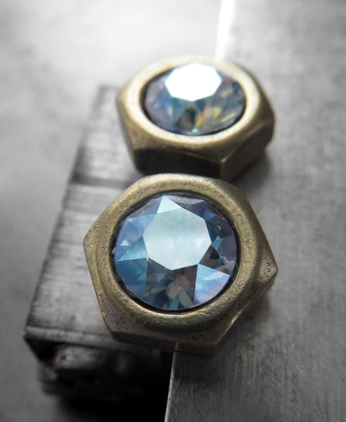 Antiqued Brass Hex Nut Stud Earrings with Swarovski Crystal Shimmer