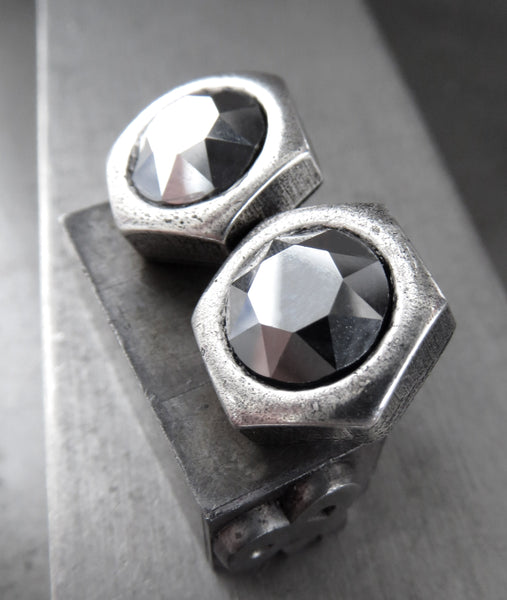 Unisex Hex Nut Stud Earrings with Chrome Swarovski Crystal - Two Sizes