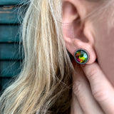 Large Rainbow Stud Earrings with Swarovski Crystal