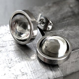 H20 - Unisex Stud Earrings with Black Diamond Swarovski Crystal