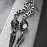 SWORD: Long Chain Earrings with Antique Silver Pointed Dagger Spikes