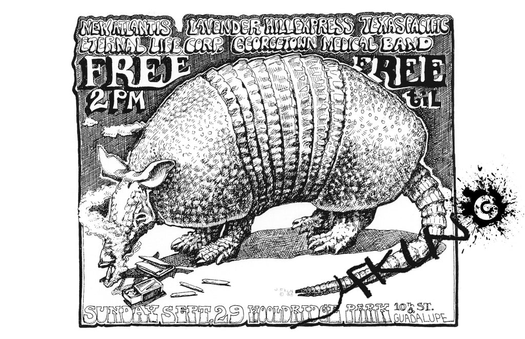 The FIRST Armadillo Handbill - September 29th at Wooldridge Park