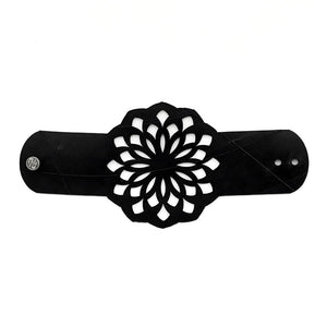 Golden Flower recycled Inner Tube Bracelet Flat view