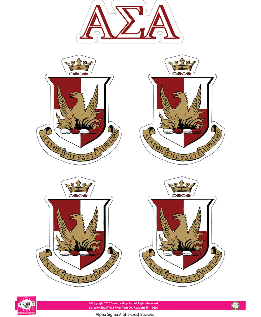 Alpha Sigma Alpha Crest Sticker Sheet