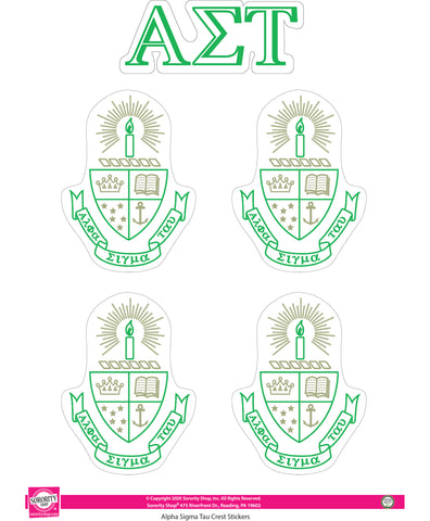 Alpha Sigma Tau Crest Sticker Sheet