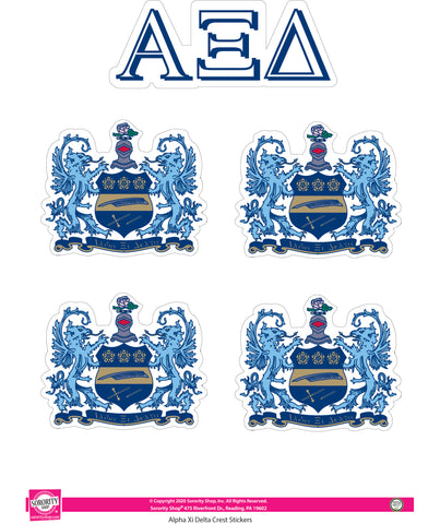 Alpha Xi Delta Crest Sticker Sheet