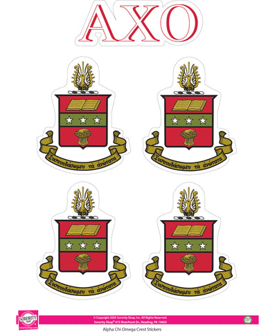 Alpha Chi Omega Crest Sticker Sheet