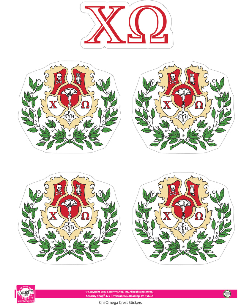 Chi Omega Crest Sticker Sheet