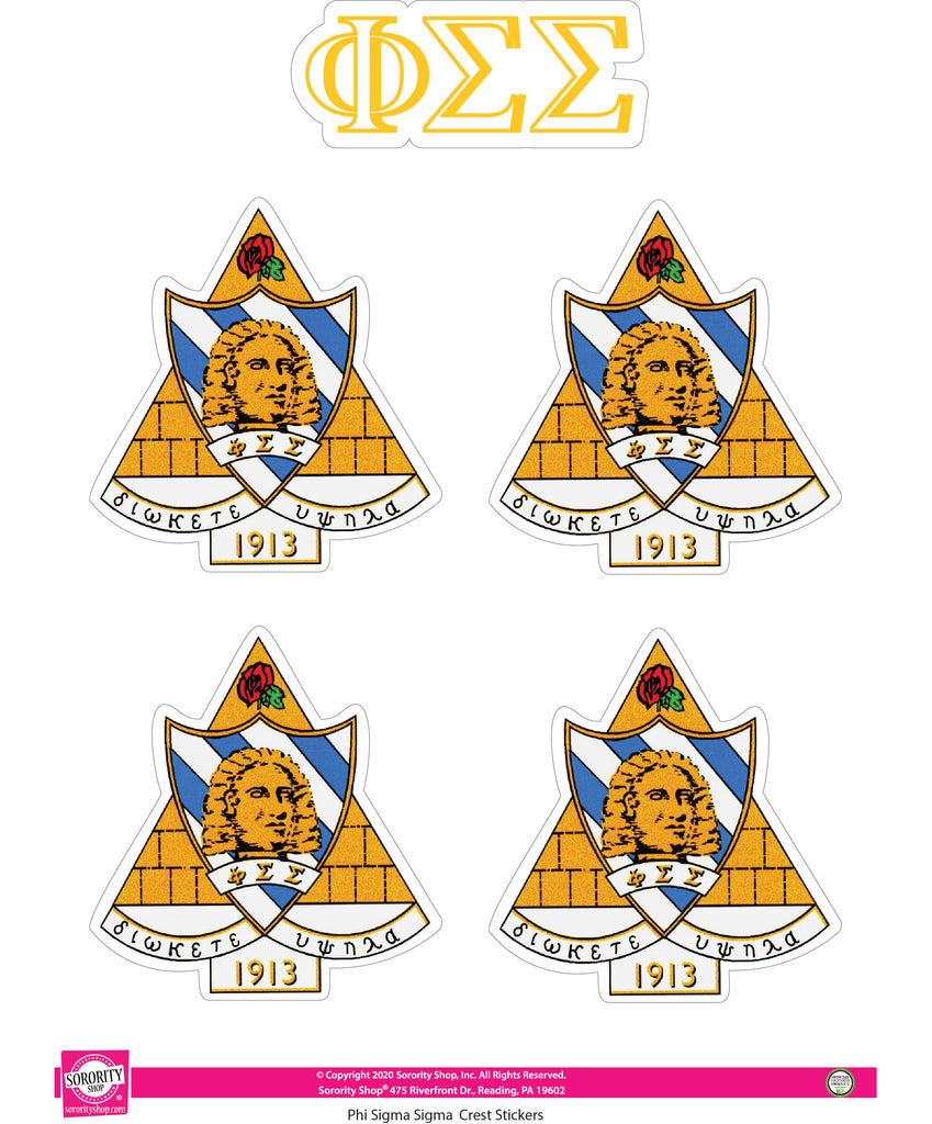 Phi Sigma Sigma Crest Sticker Sheet