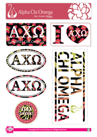 Alpha Chi Omega Animal Print Stickers