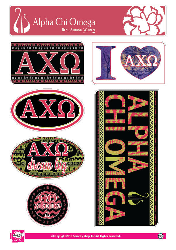 Alpha Chi Omega Bohemian Stickers