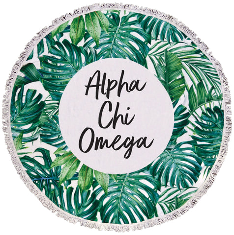 Alpha Chi Omega Palm Leaf Fringe Towel Blanket