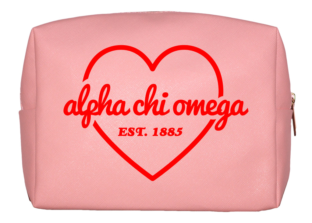 Alpha Chi Omega Pink w/Red Heart Makeup Bag