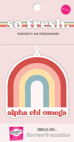 Alpha Chi Omega Rainbow Retro Air Freshener - Flowers & Sunshine Scent