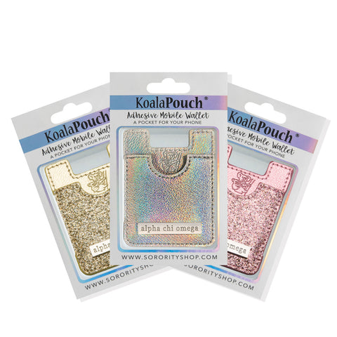 Alpha Chi Omega <br> Glitter Koala Pouch<br>Adhesive wallet for your phone