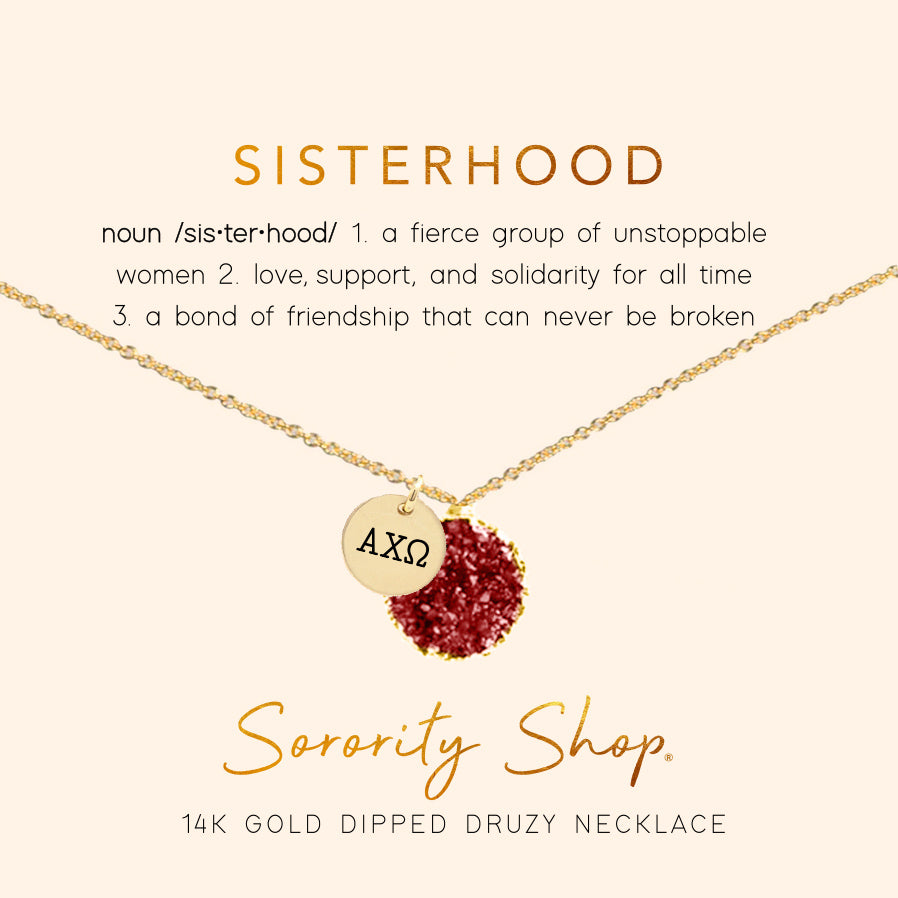 Alpha Chi Omega Sisterhood Druzy Necklace