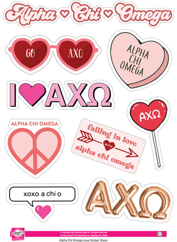Alpha Chi Omega - Sticker Sheet- Love Theme