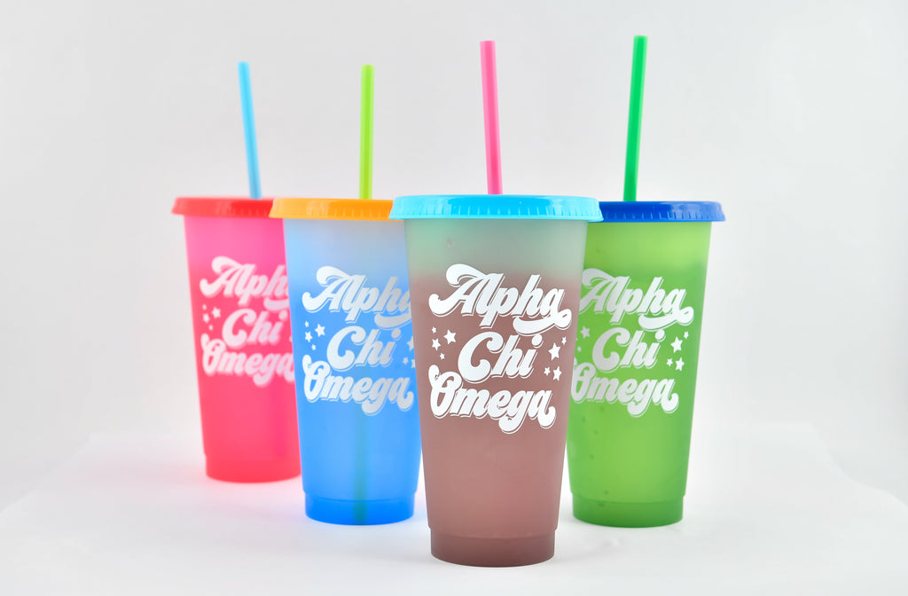 Alpha Chi Omega Color Changing Cups (Set of 4)