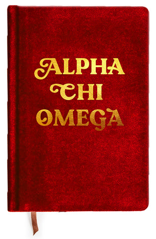 Alpha Chi Omega Velvet Notebook with Gold Foil Imprint