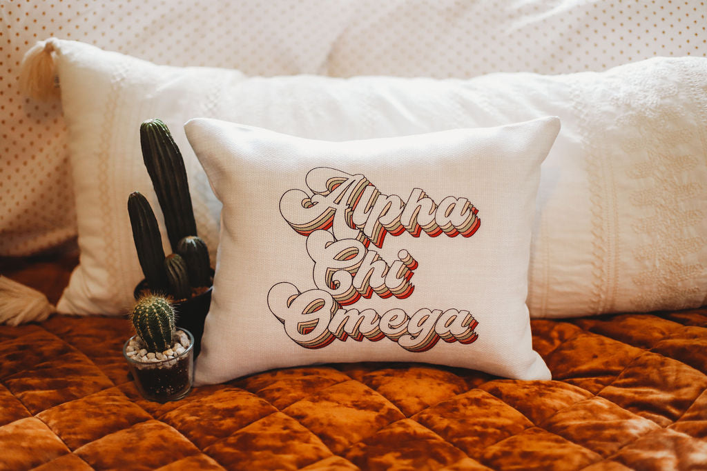 Alpha Chi Omega Retro Throw Pillow