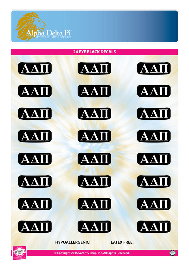 Alpha Delta Pi <br> Eye Black Decals. <br> 24 Per sheet.