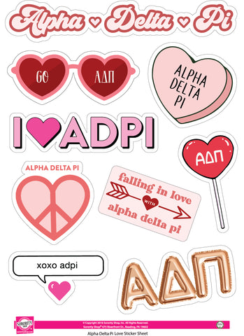 Alpha Delta Pi - Sticker Sheet- Love Theme