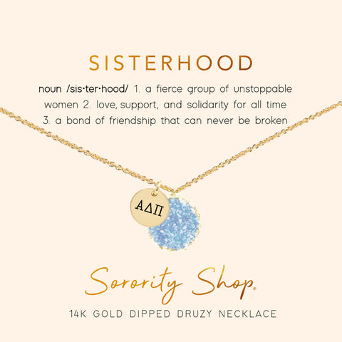 Alpha Delta Pi Sisterhood Druzy Necklace