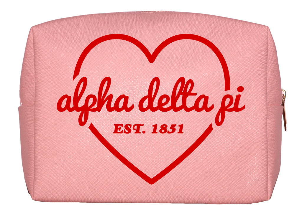 Alpha Delta Pi Pink w/Red Heart Makeup Bag