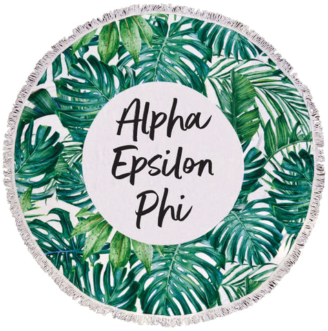 Alpha Epsilon Phi Palm Leaf Fringe Towel Blanket