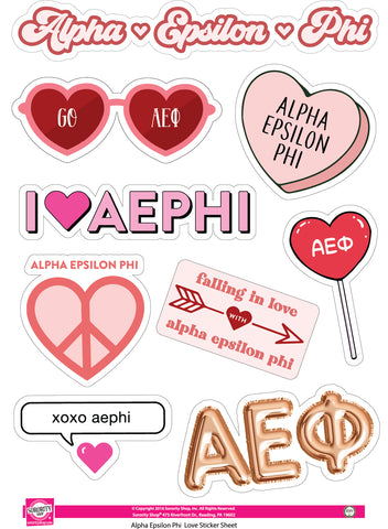 Alpha Epsilon Phi- Sticker Sheet- Love Theme