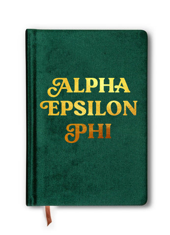 Alpha Epsilon Phi Velvet Notebook with Gold Foil Imprint