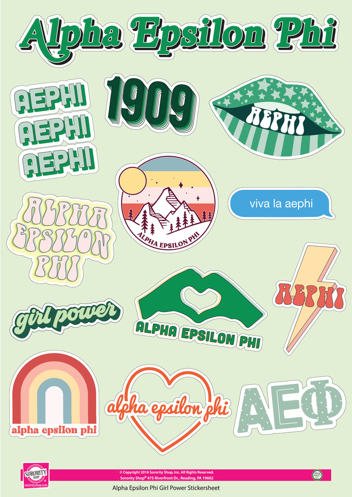 Alpha Epsilon Phi Girl Power Sticker Sheet