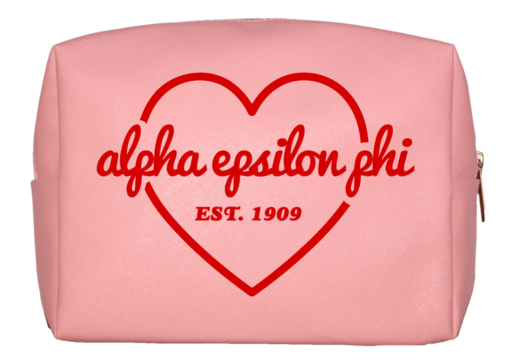 Alpha Epsilon Phi Pink w/Red Heart Makeup Bag