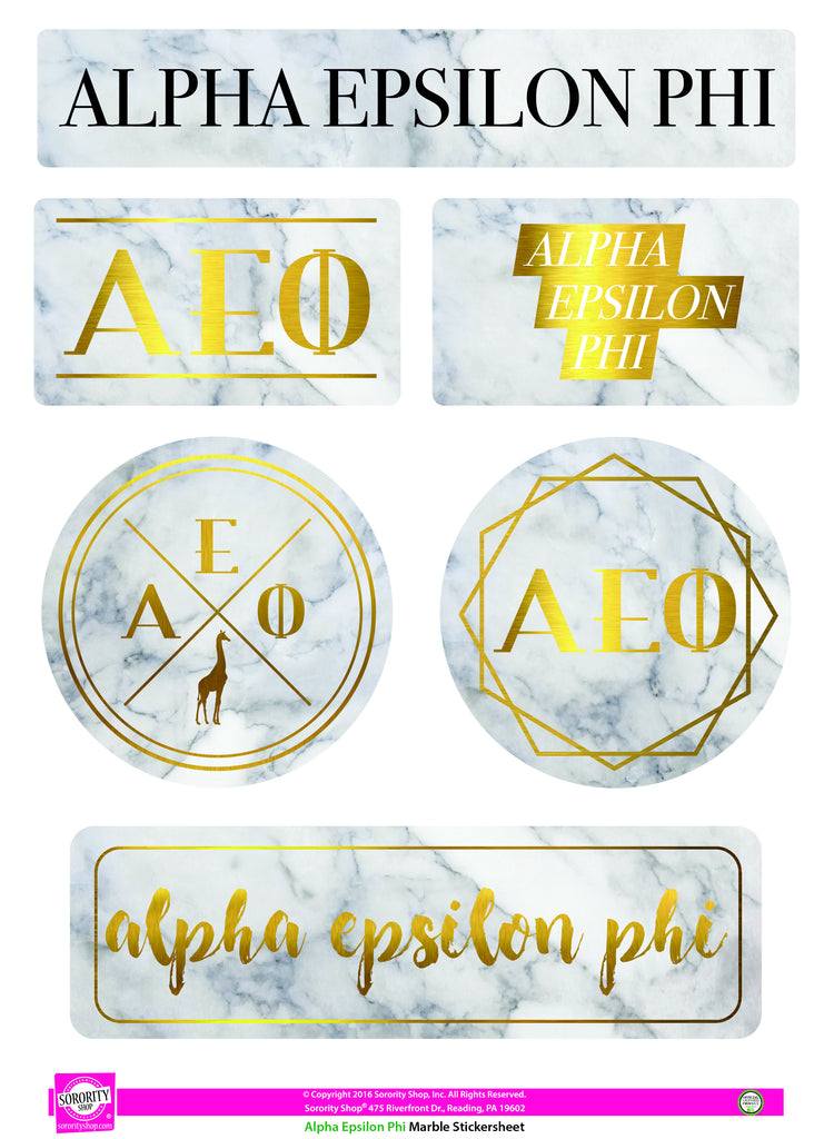 Alpha Epsilon Phi Marble Sticker Sheet