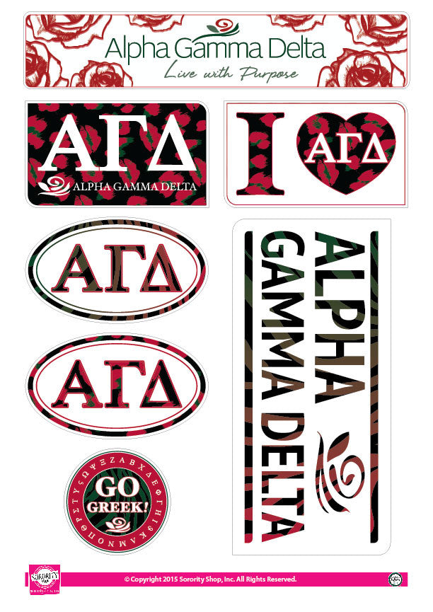 Alpha Gamma Delta <br> Animal Print Stickers