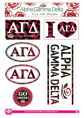Alpha Gamma Delta Animal Print Stickers