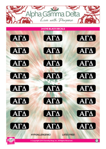Alpha Gamma Delta <br> Eye Black Decals. <br> 24 Per sheet.