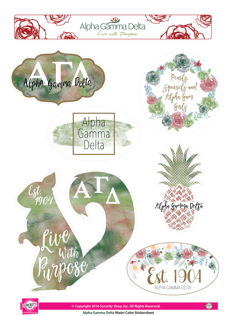 Alpha Gamma Delta Water Color stickers