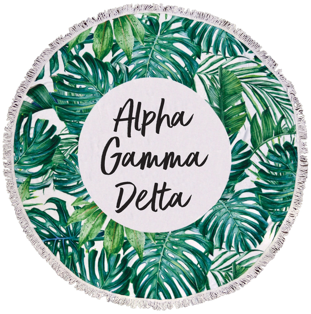 Alpha Gamma Delta Palm Leaf Fringe Towel Blanket