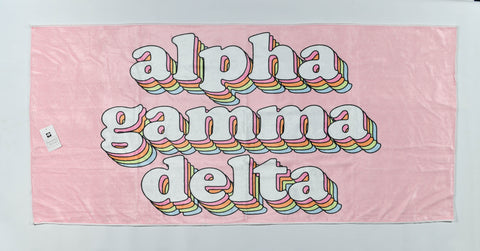 Alpha Gamma Delta Plush Retro Beach Towel