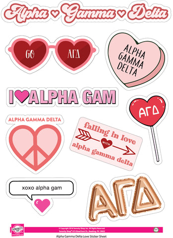 Alpha Gamma Delta- Sticker Sheet- Love Theme