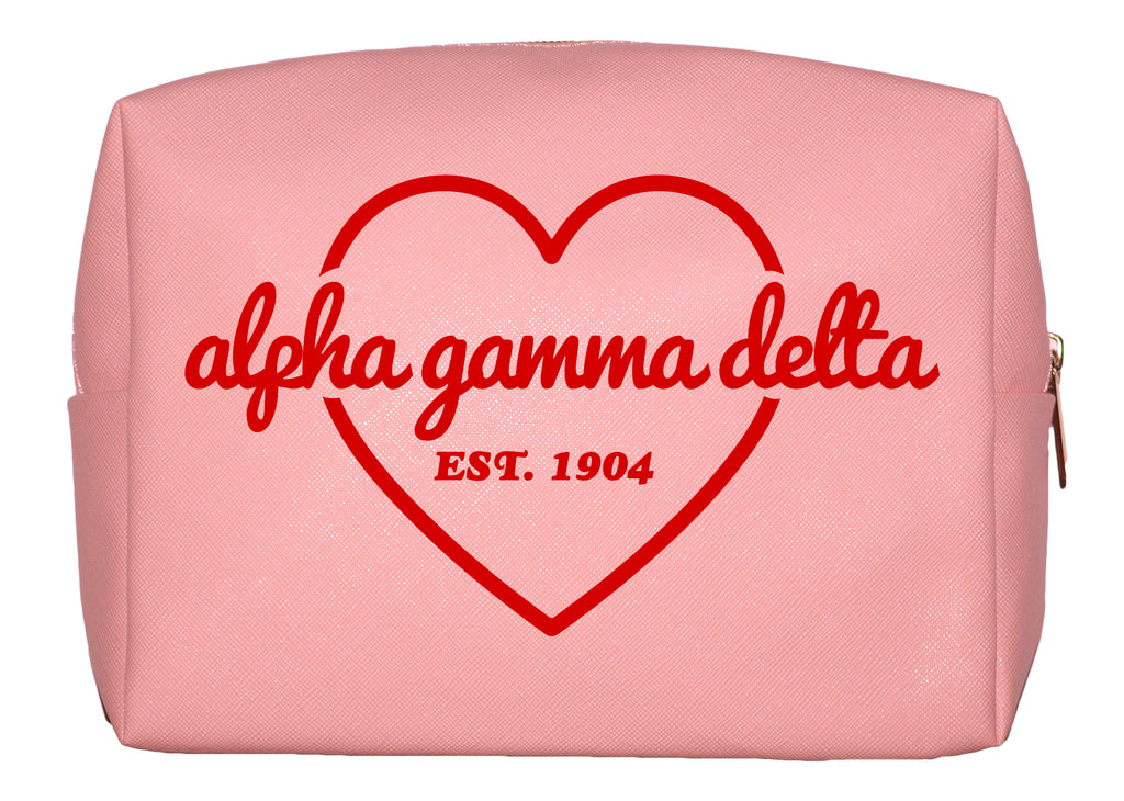 Alpha Gamma Delta Pink w/Red Heart Makeup Bag