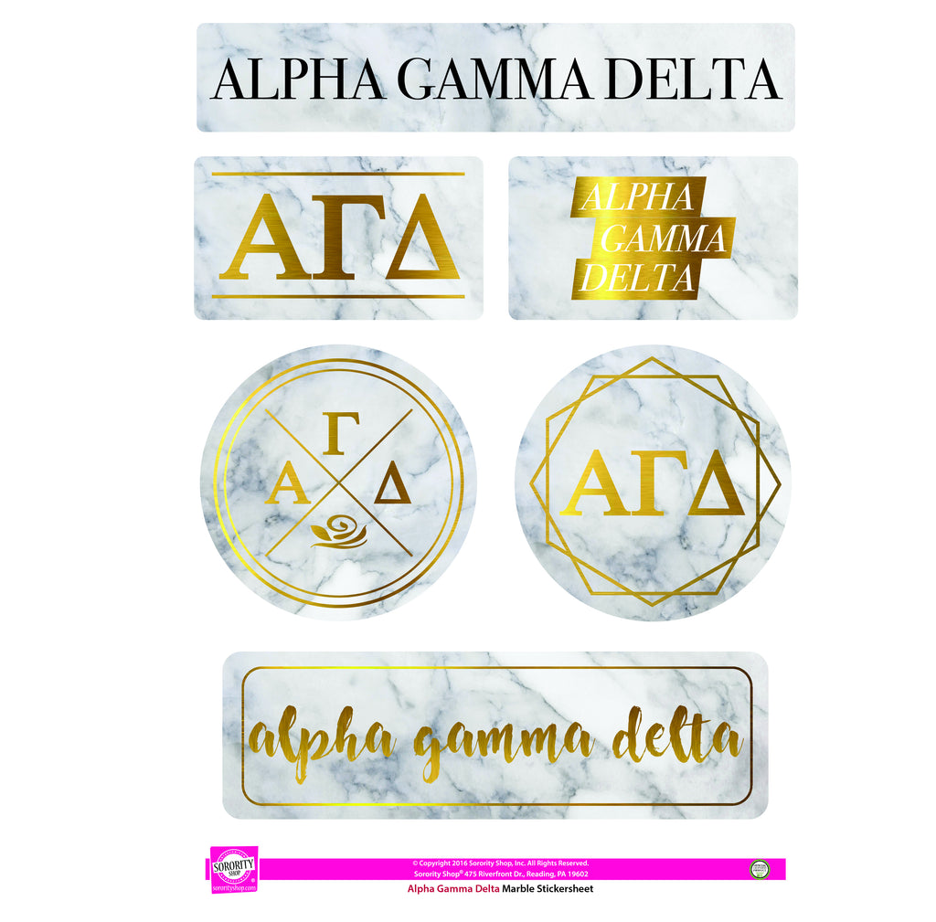 Alpha Gamma Delta Marble Sticker Sheet