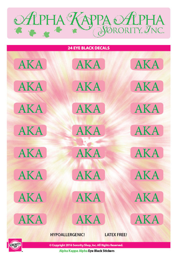Alpha Kappa Alpha <br> Eye Black Decals. <br> 24 Per sheet.
