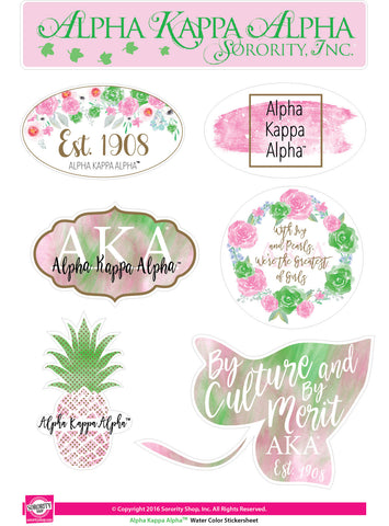 Alpha Kappa Alpha <br> Water Color stickers