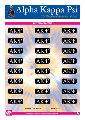 Alpha Kappa Psi <br> Eye Black Decals. <br> 24 Per sheet.